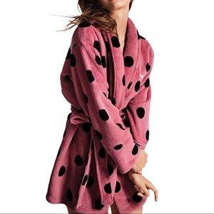PINK VS Cozy Plush Polka Dot Logo Robe Pink/Black